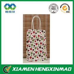 Colorful dots printing twisted paper rope handle lady gift bag/gift packaging bag/shopping bag