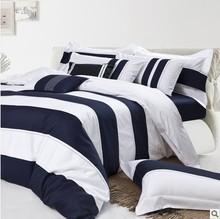 latest design , blue and white stripe bedding set .sateen bedding set