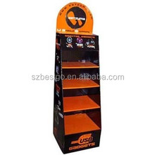 Black corrugated paper cardboard floor displays innovative shelf pdq for retailing