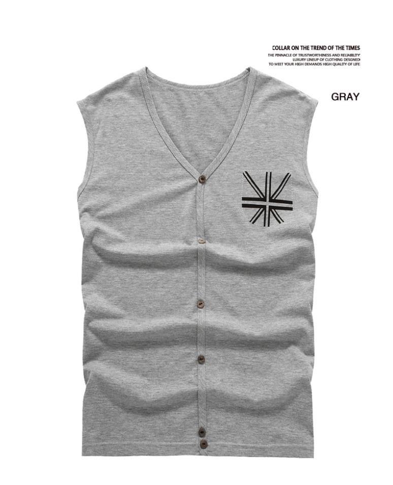 Men Vest Tiled Gray