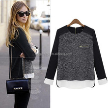 Women's New Round Neck Sweaters False Two Splicing Knit Shirt Blouse