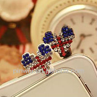 Heart Shape UK flag Shamballa Dust Plug from korea DP90337