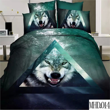 100% polyester bed sheet 4pcs bedding set luxury king size bedding sets reactive animal wolf printed 3d bedding set
