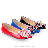 High quality women's dolly shoes casual flat shoes with flower butterfly pointed toe dress shoes