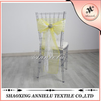 Wholesale wedding organza and lace chair sashes buckle