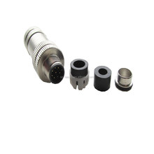 assembly 8 pole m12 connector,shielded connector with circular pin