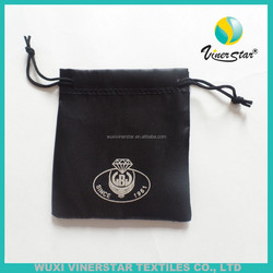 high quality drawstring black satin pouch with custom silver foil print,Satin Jewelry Pouch for Promotion, gift pouch