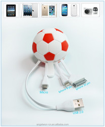 Novelty Portable Multi-function Colorful football Soccer Data Cable for IPhone Ipad Mini Ipod n cellphones with Micro USB