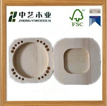 Hot selling small round finished pine wood natural wooden teeth box