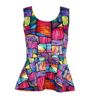 13281 Women 2014 Summer Geometric Pattern Print Contrast Color Elasticity Sleeveless Slim Vest T-shirt