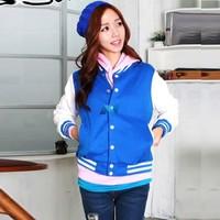 New Women Thicken Baseball Uniform Korean Fashion Sweat Coat Jacket