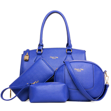 2015 new products 4pcs in 1 set PU leather handbags bag in bag for women tote bag wallet online shopping