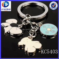 Wholesale New Fashion Plate and white dog Ornaments metal keychains