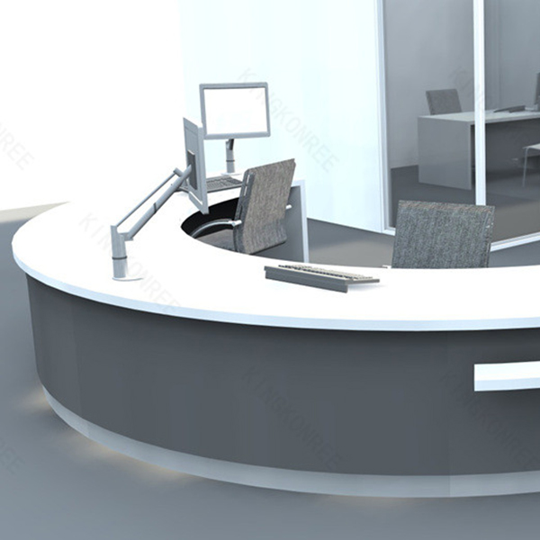 Excellent Office Equipment Choosing A Good Office Desk Office Architect.  Awesome FurnitureDesignRoundComputerDeskforFourPeopleGreyOffice