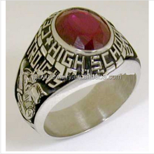 Ruby stone copper high class graduation ring for memory