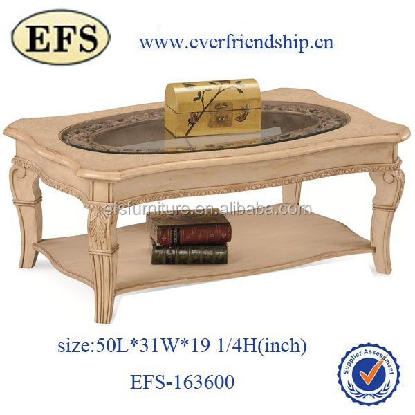 Nice design glass top rubber wood frame cheap modern cream for Cream glass coffee table