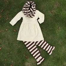 hot sale girls 3 pieces sets girls boutique clothing kids creamy white top sets girls stripe pant sets