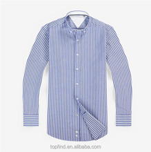 Yiwu direct factory customise stripe pattern men's long sleeve uniform shirt with 100% cotton oxford