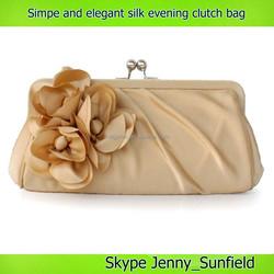 3d flower 2015 satin silk simple elegant women clutch evening bag
