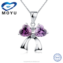 2015wholesale Fashion jewelry gemstone pendant Bow shape purple and wihte 925 silver best gift for girl fast delivery