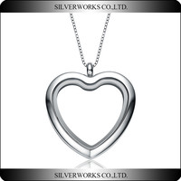 Floating Charm Memory Locket Heart Glass Pedant Necklace - 316 Stainless Steel jewelry