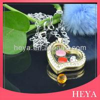 New high quality heart gold custom made memory floating glass locket pendants