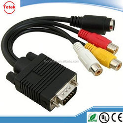 VGA to TV Converter S-VIDEO & 3 RCA Out Cable Adapter