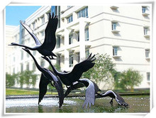 Animal Statue Bronze Swan Sculpture Flying Birds