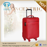 fashional red pu luggage for men and women luggage wholesale