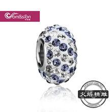 large hole glass beads colorful Austria full Pave Diamond shamballa crystal beads
