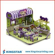 children 3d paper model,3D restaurant house model,3d building jigsaw paper model