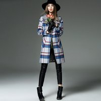 New winter autumn winter style lady's retro thicken woollen check long overcoat 1l02