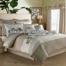 classic embroidered linen fabric bedding sheet&pillow
