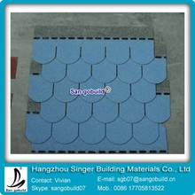 Self-adhesive Red Fish-scale Roof Tiles Blue Circular Asphalt Shingles