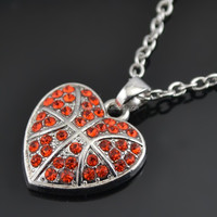 Wholesale Alibaba Fashion Red Crystal Heart Shape Basketball Pendant Necklace Yiwu Costume Jewellery