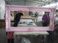 wall hanging solid wood frame huge beauty salon mirror in vintage
