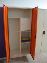 Kids locker room bedroom furniture colorful wardrobe/double door cheap locker with hanging rods and 4 shelves