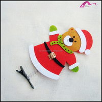 Lovely Fabric Covered Chrismas Bear Animal Alligator Hair Clips For Kids Cos Hair Accessories Wholesale