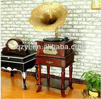 Retro Turntable Player Decoration Gramophone with CD SD USB Cassette and AM FM Radio