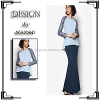 Shoulder with lace design moden baju kurung peplum 2015