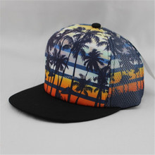 Print mesh hip pop flat bill snapback cap/hat