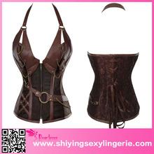 fashion women designe 14 Steel Bone Steampunk Leather Corset with Thong
