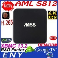 2015 New KODI 14.0 + XBMC 13.2 H.265 4K BT 4.0 AP6330 Android 4.4 Quad Core M8S amlogic s812 tv box