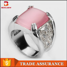 China experienced factory making Vietnam popular pink agate 925 sterling silver ring with claw for men and women