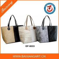 2016 new style splice paper straw handbag Fashion straw tote bag