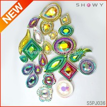 2015 new design claw resin rhinestone sew on clothes decorations