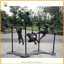 Life Size Bronze Sport Children Sculptures Playing Horizontal Bar For Garden Decor
