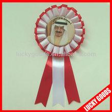 Arabian printing badge ribbon with pin at back