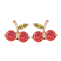 2015 Free Shipping Hot Selling Cherry Shaped Fruit Design Cute Earrings