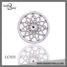 Buddhatobella 2015 32mm Interchangeable coin locket sunshine jewelry, round shape rhodium coin pendant LC035